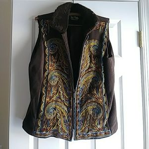 Brown embroidered vest